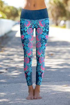 Our Power Pants combine Fashion, Function, Fit and Performance with Amazing Designs. Our leggings are perfect for your workout or dining out. Available online at OmShantiClothing.com #Yoga #floral