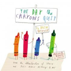 The Day the Crayons Quit by Drew Daywalt; pictures by Oliver Jeffers. Duncan's crayons are bored and unhappy with their life in his desk until he devises a plan to use them in vibrant and interesting illustrations. Children's – Ages 3-7