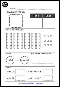 Free Number Of The Day Printable And Worksheet For K 2 Second Grade Math First Grade Math Homeschool Math