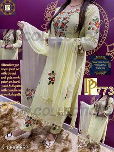 Kurta Sets Prakhya Kurtis Beautiful Kurta Set with Flower Embroidered Kurta Fabric: Rayon Bottomwear Fabric: Rayon Fabric: Chiffon Sleeve Length: Three-Quarter Sleeves Set Type: Kurta With Dupatta And Bottomwear Bottom Type: Pants Pattern: Embroidered Multipack: Single Sizes: XL (Bust Size: 42 in, Shoulder Size: 14.5 in, Kurta Waist Size: 40 in, Kurta Hip Size: 44 in, Kurta Length Size: 46 in, Bottom Waist Size: 33 in, Bottom Hip Size: 44 in, Bottom Length Size: 38 in, Duppatta Length Size: 2 m)  L (Bust Size: 40 in, Shoulder Size: 14 in, Kurta Waist Size: 38 in, Kurta Hip Size: 42 in, Kurta Length Size: 46 in, Bottom Waist Size: 31 in, Bottom Hip Size: 42 in, Bottom Length Size: 38 in, Duppatta Length Size: 2 m)  M (Bust Size: 38 in, Shoulder Size: 13.5 in, Kurta Waist Size: 36 in, Kurta Hip Size: 40 in, Kurta Length Size: 46 in, Bottom Waist Size: 29 in, Bottom Hip Size: 40 in, Bottom Length Size: 38 in, Duppatta Length Size: 2 m)  XXL (Bust Size: 44 in, Shoulder Size: 15 in, Kurta Waist Size: 42 in, Kurta Hip Size: 46 in, Kurta Length Size: 46 in, Bottom Waist Size: 35 in, Bottom Hip Size: 46 in, Bottom Length Size: 38 in, Duppatta Length Size: 2 m)  XXXL (Bust Size: 46 in, Shoulder Size: 15.5 in, Kurta Waist Size: 44 in, Kurta Hip Size: 48 in, Kurta Length Size: 46 in, Bottom Waist Size: 36 in, Bottom Hip Size: 48 in, Bottom Length Size: 38 in, Duppatta Length Size: 2 m)  Country of Origin: India Sizes Available: M, L, XL, XXL, XXXL   Catalog Rating: ★4 (276)  Catalog Name: Free Mask Prakhya Kurtis Refined Women Kurta Sets CatalogID_2677676 C74-SC1003 Code: 798-13609852-3642