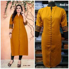 Checkout this latest Kurtis Product Name: *Women Cotton High- Slit Solid Mustard Kurti* Fabric: Cotton Sleeve Length: Three-Quarter Sleeves Pattern: Solid Combo of: Single Sizes: M, L (Bust Size: 40 in, Size Length: 46 in)  XL, XXL, XXXL, 4XL, 5XL, 6XL Easy Returns Available In Case Of Any Issue   Catalog Rating: ★4.1 (8077)  Catalog Name: Hetsa Women Cotton High- Slit Solid Mustard Kurti CatalogID_481156 C74-SC1001 Code: 113-3458626-147