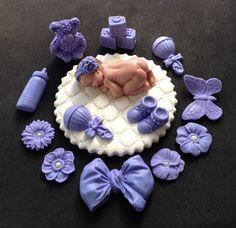 Fondant baby girl white lavender cake topper by evynisscaketopper