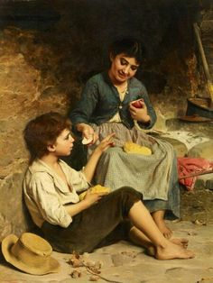 """""""Two children with bread and Apple"""" 1870 Painting by Luigi Bechi,  Italian, 1830 - 1919"""