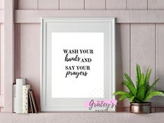 Printable Wash your hands and pray digital wall art for the bathroom and the kitchen | Gift ideas Etsy  #christianquotes #funnyquotes #stayhomeandstaysafe #washyourhands #coronavirus