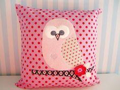 Kissen - Kissen Eule rosa rot ♥ EULENZAUBER - ein Designerstück von kleineSchurken bei DaWanda