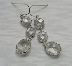 Crystal Clear Bridal Earrings - White Gold - Czech Glass - Double Tier