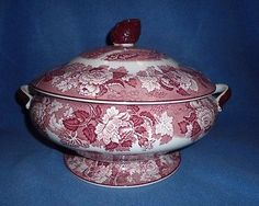 "Early Enoch Wood & Sons  Pink /Red"" English Scenery"" Large Tureen"