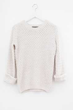 Chunky cable knit sweater Scalloped bottom Cropped, slightlyloose ...