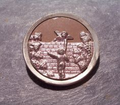 VINTAGE Victorian Metal BUTTON Large Two Piece Metal by punksrus, $12.50