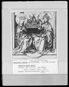 Christ blesses Mary Martin Schongauer, Dresden State Art Collections Dresden, Prints and Drawings, inv 1893-211, as 71 -