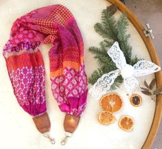 Pink and Orange Boho Scarf Camera Strap by EarthtoEmerald on Etsy