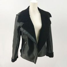 dab63aaca07 Madden Girl Medium Jacket Faux Leather Sherling Moto Bomber Asymmetrical Zip   fashion  clothing
