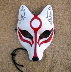 White Okami Kitsune Mask Japanese Fox Leather Mask by Merimask