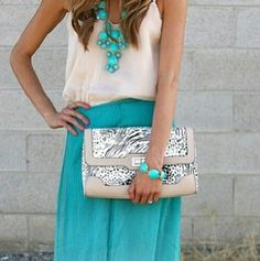 White and turquese outfit