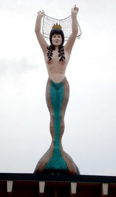 This mermaid is totally landlocked. She sits on top of the Mermaid restaurant in Mounds View Minnesota, and stands tall. Tom Robbins, Mermaids And Mermen, Roadside Attractions, Road Trippin, World's Biggest, Along The Way, Worlds Largest, The Past, Figurine