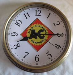 "NEW  ""ALLIS-CHALMERS EARLY LOGO"" WALL CLOCK. LOGO USED FROM 1930-1967"