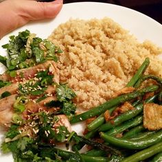 Ready to eat #dinner #homemade #homechef #ahituna #tuna #tataki #cilantro #greenbeans #quinoa #healthy #goodfood #delicious #tasty #yum #whatscooking #timetoeat #foodpics by on.my.happy.days