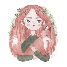 Happy friday everyone! Hope you all have a wonderful weekend I may do a little series of girls, and their animal friends! Cute Sketches, Cute Drawings, Cute Illustration, Graphic Design Illustration, Cute Girl Drawing, Anime Art Girl, Girl Cartoon, Cute Art, Art Inspo