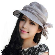 Gray silk bucket hat for women wide brim flower decoration