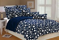 Marlo Lorenz 4897 Stars Microplush Comforter Set, Navy White, Full/Queen by Marlo Lorenz. $119.99. Machine washable. Soft high quality fabric. Reversible comforter. Warm and cozy stars design is printed on super soft microplush fabric. Perfect look for your bedroom. Reversed to solid navy blue microplush.