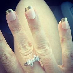 Light Pink & Gold nails, Bow Ring from Zales