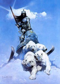 Frank Frazetta's amazing painting of a polar bear drawn sled.