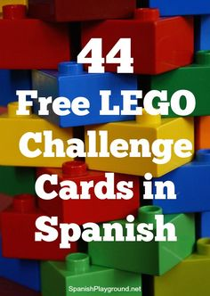 LEGO challenge cards in Spanish are an engaging reading task for kids learning the language. The cards have images to support the language.