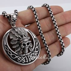Punk Style Indians Chief Silver Tone 316 L Stainless Steel Pendant Necklace