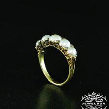 Victorian pearl and diamond 5 across ring