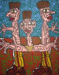 """Robert Combas """"Triple corps, triple tête, tridimensionnel"""" acrylique sur toile, 100 x 80 cm, 1988"""