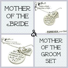 "SALE: Mother and Mother in Law GIFT SET necklaces ""The love between..."" Wedding Mothers gifts, wedding party gifts. $45.00, via Etsy."