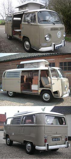 Klassisches VW T2 Wohnmobil mit Hubdach und Hängematte #vw #vwbus #vwbulli #t2 #campingbus #campingvan #campingcar #camping #campanda