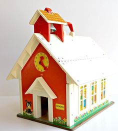 """Vintage 1971 Fisher Price School House by Digvintageshop on Etsy"" [I LOVED our buildings and the school house was one of the best.]"