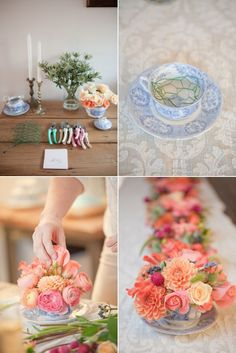 A style savvy wedding resource devoted to the modern bride's journey down the altar with gorgeous real weddings, vendor recommendations and much more! Vintage Crockery, Diy Party, Party Ideas, Reception Decorations, Holiday Parties, Bridal Shower, Baby Shower, Party Planning, Floral Arrangements