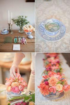 Feminine tea party flowers. #DIY #florals #centerpieces