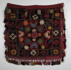 nomads Uzbek Kungrat Ilgitch Embroidery, Silk Embroidery on Velvet,  19th Century, 24 x 26 inches,