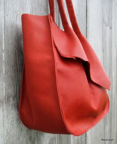 ae0f89e65596 Handmade Red Leather Tote Bag by Stacy Leigh Red Leather