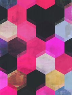 Coloured hexagon pattern