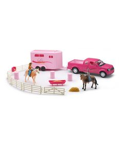 Take a look at this Pink Pickup Truck & Horse Trailer Set by New-Ray Toys on #zulily today! $25 !!