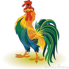Giggle Colorful rooster by Elena Mikhaylova on Dreamstime