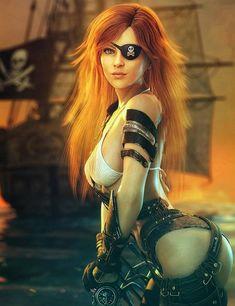 Pirate Art, Pirate Woman, Fantasy Art Women, Fantasy Girl, Fantasy Warrior, Fantasy Races, Warrior Princess, New Wave, Anime Art Girl