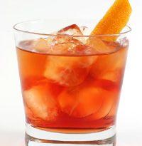 Prima di Cena (Old Fashioned - Build and quick stir). 3 El Dorado 3yr, 1 Campari, 2 Briottet d'Abricot, 3 Antica Formula, Garnish - Flamed grapefruit zest.