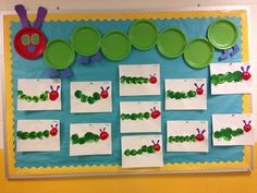 The Very Hungry Caterpillar Bulletin Board Balloon Painting Art Project Craft Preschool