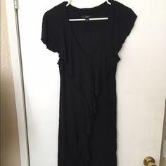 Black Dress Black Business dress with center ruffle Dresses Midi