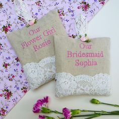 Bridesmaid Hanging Lavender Sachet by Tuppenny House Designs, the perfect gift for Explore more unique gifts in our curated marketplace. Nottingham Lace, French Lavender, Lavender Sachets, Satin Roses, Wedding Keepsakes, Wedding Anniversary Gifts, Floral Fabric, Natural Linen, Personalized Gifts
