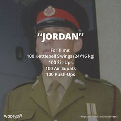For Time: 100 Kettlebell Swings (24/16 kg); 100 Sit-Ups; 100 Air Squats; 100 Push-Ups