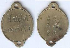 Plaque de métier - Marine matelot Lamaneur n° 12 2 S