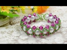 How to Make Green Seed Bead Braided Bracelet with White Pearl and Fuchsi...