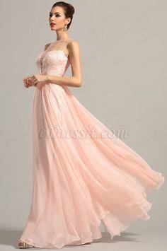 Robe de soirée longue rose sans manche décolleté sexy (00155001) #robe #edressit #soiree #rose #pastel