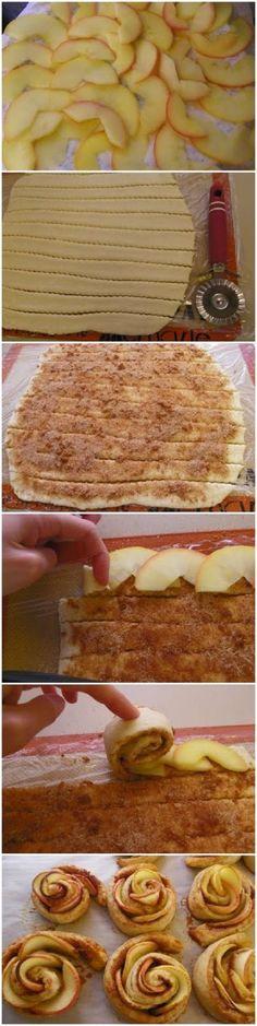 Roosjes gemaakt van croissantdeeg met appel, kaneel vulling
